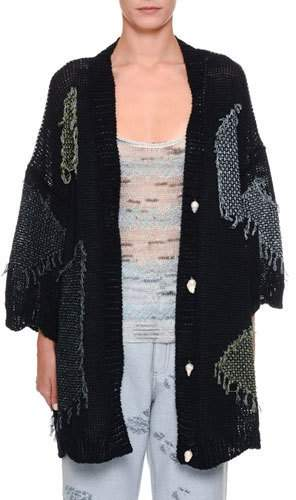1-2-Sleeve Patch Kimono Cardigan
