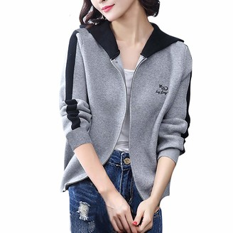 Younthone Women's Sweatshirt Coats Long Sleeve Casual Loose Hooded Cardigan Jacket Sports Coat Black Gray