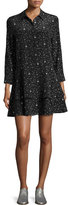 Equipment Natalia Star-Print Washed Silk Shirtdress, True Black Midnight in Paris