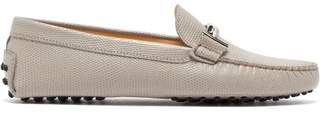 Tod's Gommini Lizard-effect Leather Loafers - Womens - Light Grey