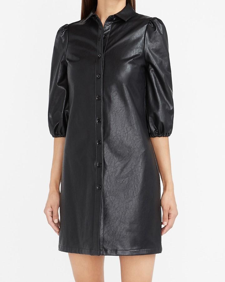 Express Vegan Leather Shirt Dress