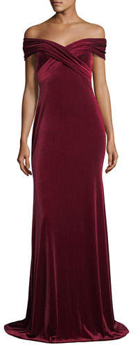 Theia Off-the-Shoulder Draped Velvet Evening Gown