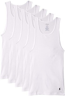 Polo Ralph Lauren Classic Fit w/ Wicking Tank 5-Pack (White) Men's Clothing