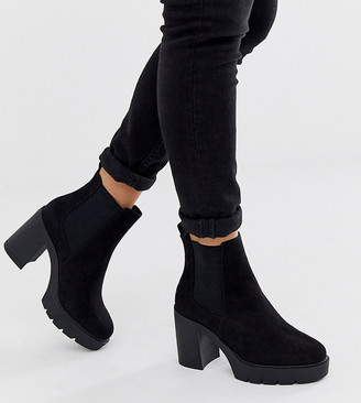 ASOS DESIGN Wide Fit Elderberry chunky chelsea boots in black