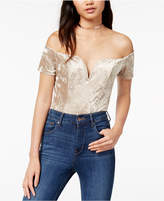 ASTR the Label Ella Crushed Velvet Off-The-Shoulder Bodysuit