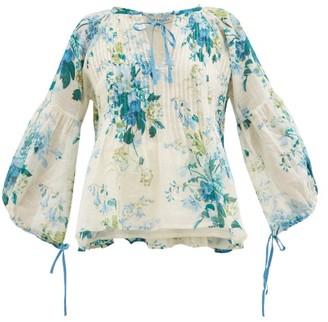 D'Ascoli Clarita Drawstring Floral-print Cotton Blouse - Blue Print