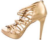 Diane von Furstenberg Metallic Peep-Toe Booties