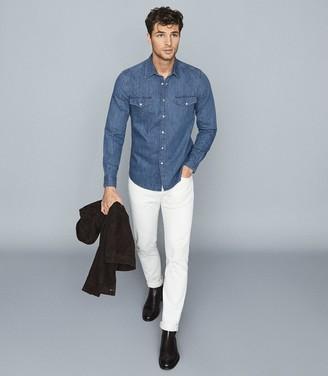 Reiss Brady - Twin Pocket Denim Shirt in Indigo