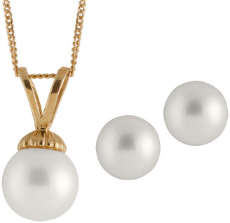 Splendid Pearls 14K 7-7.5Mm Akoya Pearl Necklace & Earrings Set