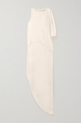 Halston Asymmetric Draped Crepe Maxi Dress - Off-white