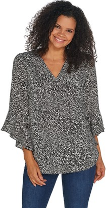 Belle By Kim Gravel Flutter-Sleeve V-Neck Blouse
