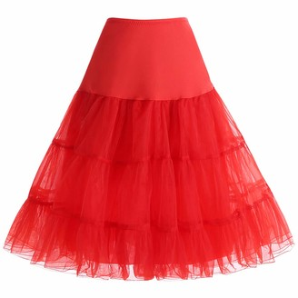 bbonlinedress Organza 50s Vintage Rockabilly Petticoat Retro Underskirt Knee Length Crinoline Half Slips Purple M