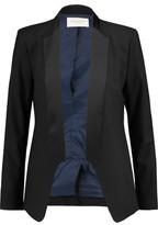 Halston Satin-Paneled Wool-Blend Twill Blazer