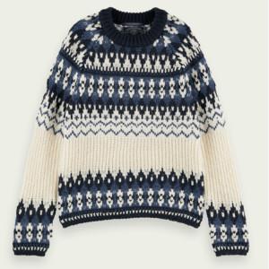 Maison Scotch Chunky Wool Blend Fairilse Knit Pullover Navy - XS