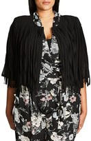 City Chic Plus Size Women's Fancy Fringe Crop Jacket