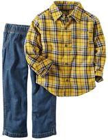 Carter's Toddler Boy Plaid Flannel Button-Down & Jeans Set