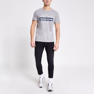 Jack and Jones Mens River Island Grey printed T-shirt