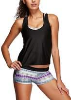 American Trends Women's Stripes Double Up Tankini Push Up Bathing Suit Swimwear