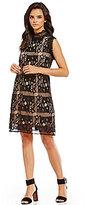 M.S.S.P. Mock Neck Squared Lace Shift Dress