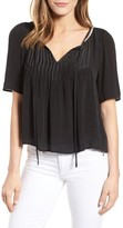 Velvet by Graham & Spencer Women's Pintuck Pleat Split Neck Blouse