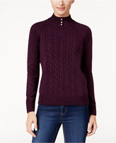 Karen Scott Mock-Neck Cable-Knit Sweater, Only at Macy's