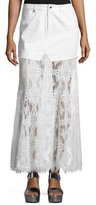 McQ by Alexander McQueen Denim & Lace Maxi Skirt, Ivory