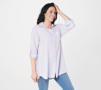 Side Stitch Petite Button Front Tunic with Pocket