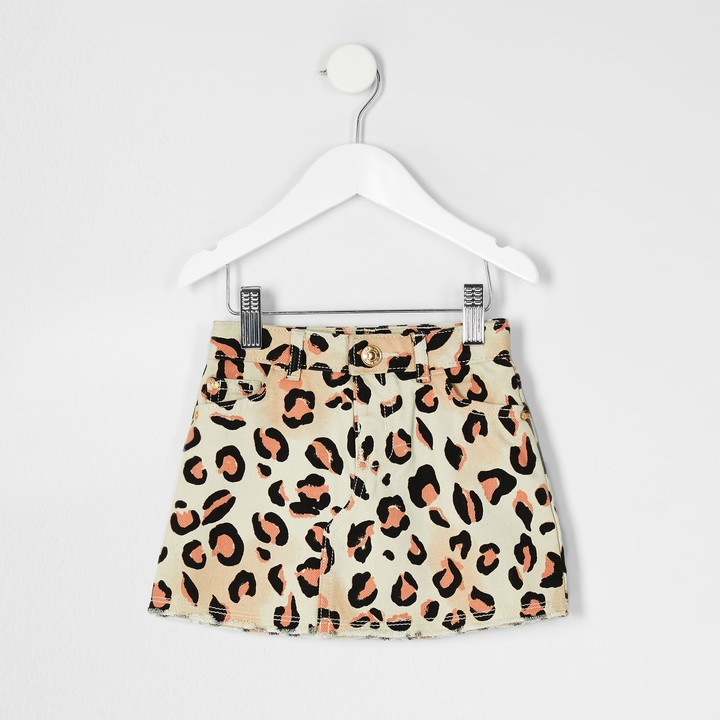 River Island Mini girls natural leopard print denim skirt