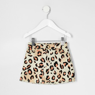 River Island Mini girls natural leopard print denim skirt
