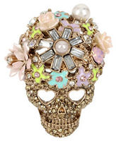Betsey Johnson Pearl and Crystal Scull Ring