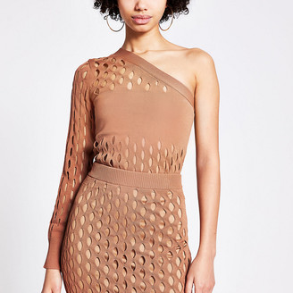 River Island Rust mesh one shoulder knitted top
