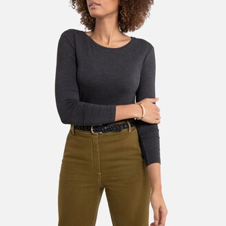 La Redoute Collections Draping Crew-Neck T-Shirt with Long Sleeves