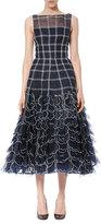 Carolina Herrera Sleeveless Grid-Illusion Midi Dress, Navy/White