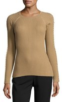 Alexander Wang Pierced-Sleeve Crewneck Sweater, Safari