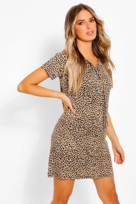 boohoo Leopard Print Lace Up T-Shirt Dress