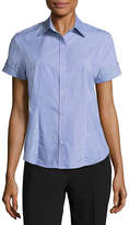 Liz Claiborne Button Front Short Sleeve Shirt - Tall