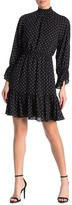 Donna Morgan Dotted Georgette Ruffle Trim Dress