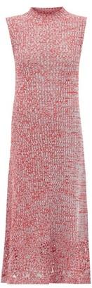 Jil Sander Crochet-hem Knitted Cotton-mouline Dress - Womens - Red Multi