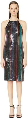 Badgley Mischka Racerback Sequin Stripe Cocktail (Black Multi) Women's Dress
