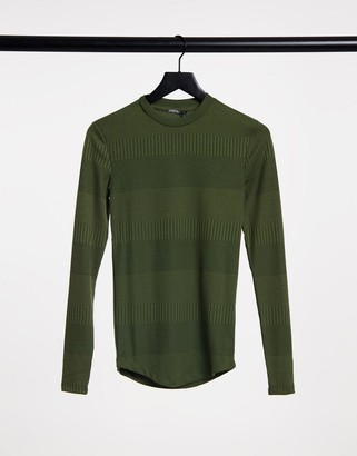 ASOS DESIGN muscle fit long sleeve sleeve t-shirt in fancy rib in khaki