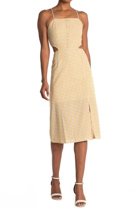 Lost + Wander Mimosa Gingham Cutout Midi Dress