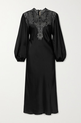 Christopher Kane Lace-paneled Charmeuse Midi Dress - Black