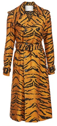 Adam Lippes Tiger-Stripe Trench Coat