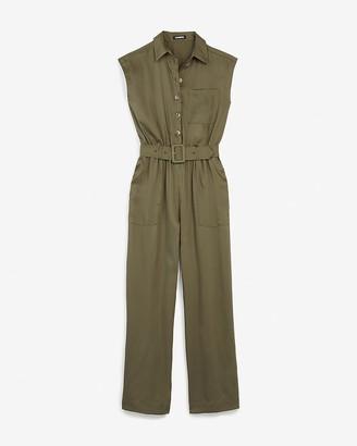 Express Satin Belted Utility Short Sleeve Jumpsuit