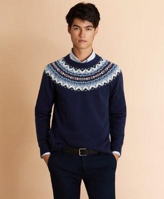 Brooks Brothers Wool-Blend Fair Isle Crewneck Yoke Sweater