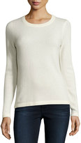 Neiman Marcus Cashmere Basic Pullover Sweater, Ivory