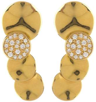 Ippolita 18K Gold Stardust Small Wavy Diamond Overlapping Disc Earrings - 0.18 ctw