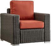 Inspire Q La Vita Wicker Patio Track Arm Club Chair With Cushions