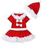 FEITONG 1Set Infant Toddler Baby Girls' Christmas Long Sleeve Dress+ Cap (18 Months)