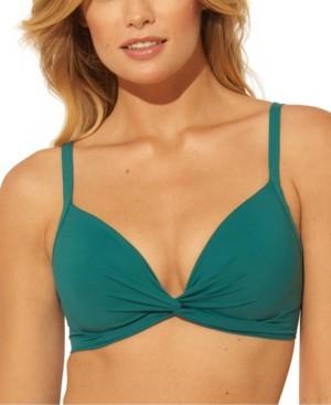 BLEU by Rod Beattie Solid Twist-Front Underwire Bikini D- Cup Top Women's Swimsuit